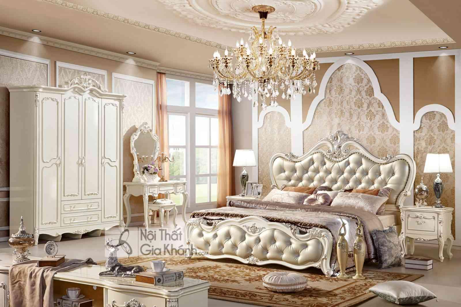 Giường ngủ tân cổ điển màu trắng ngọc trai thương hiệu French White GI8802H