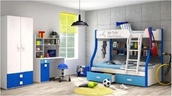 Giường Tầng Đẹp Cho Trẻ Em Màu Xanh