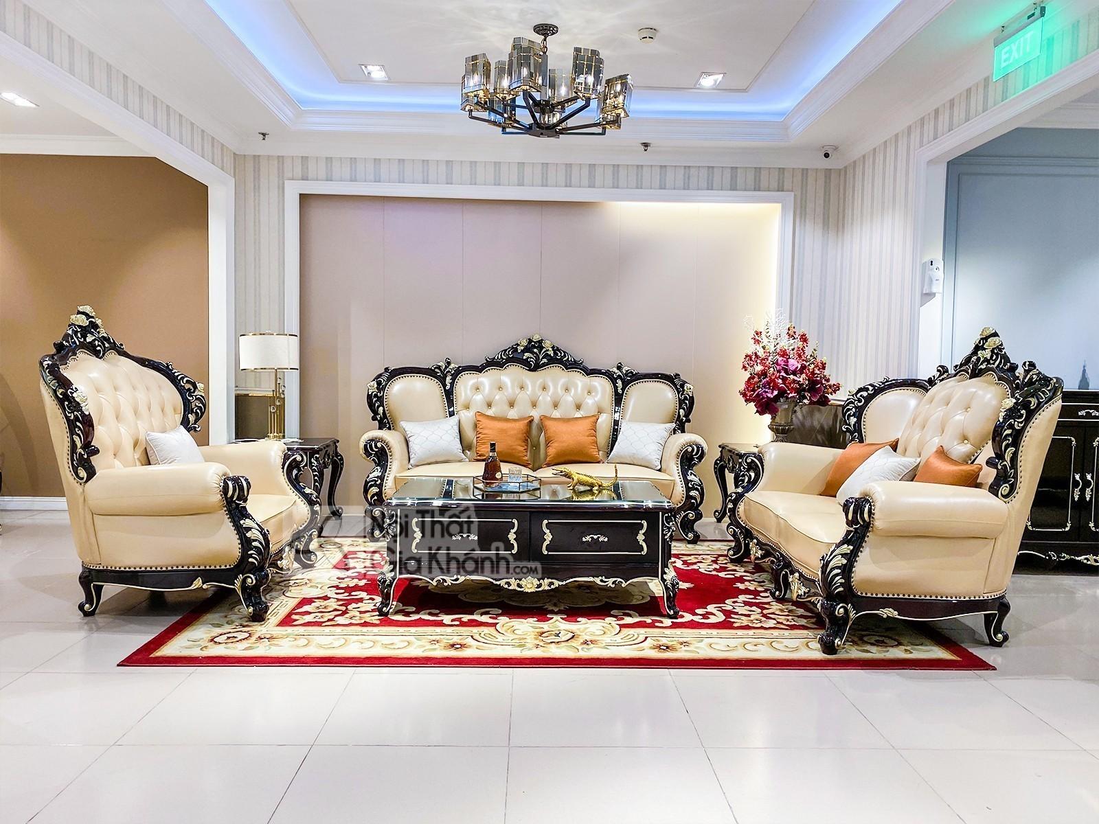 Bộ sofa da thật nhập khẩu phong cách cổ điển hoàng gia SB955G-123