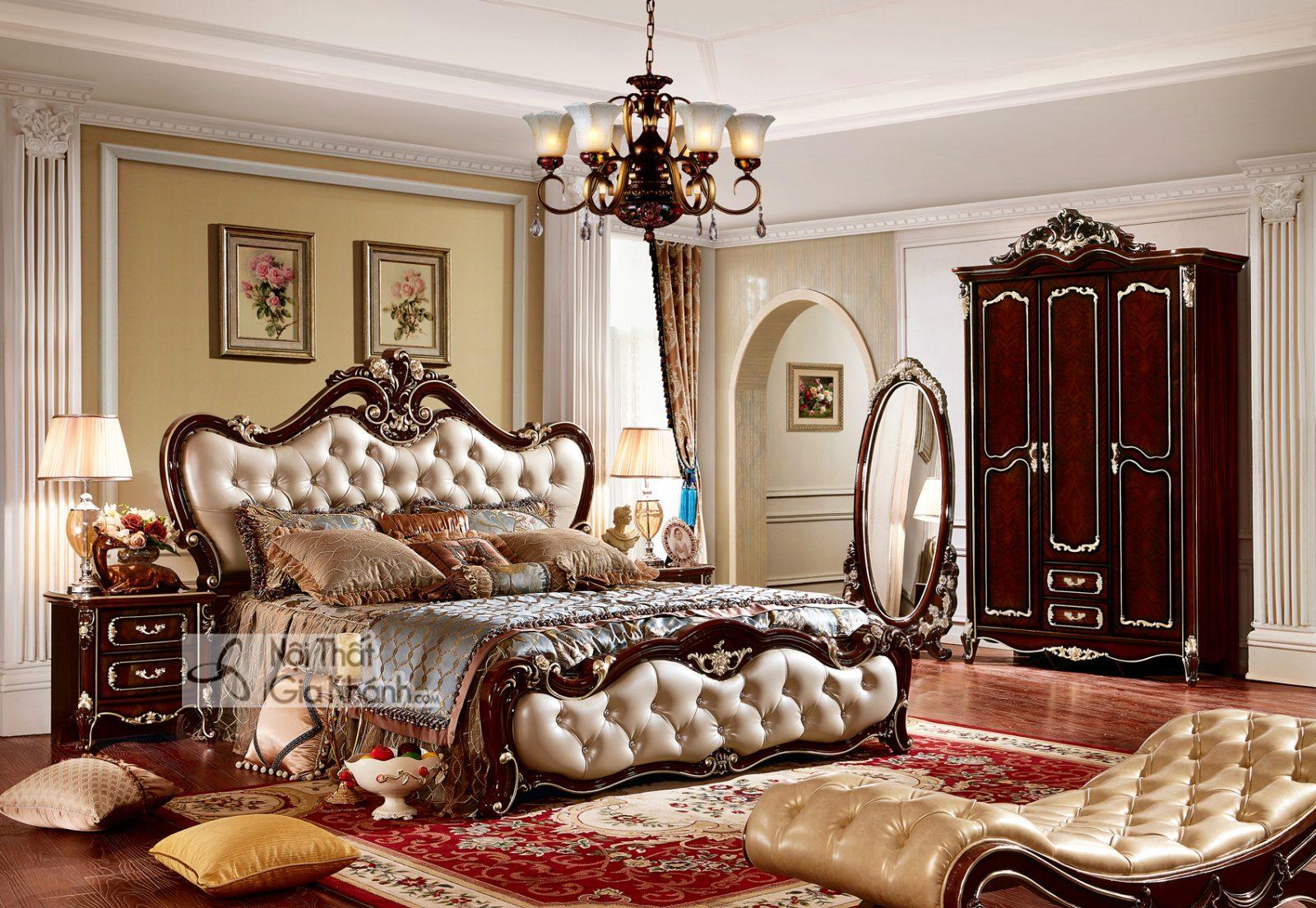 Mẫu giường tân cổ điển cao cấp màu nâu GI8802G