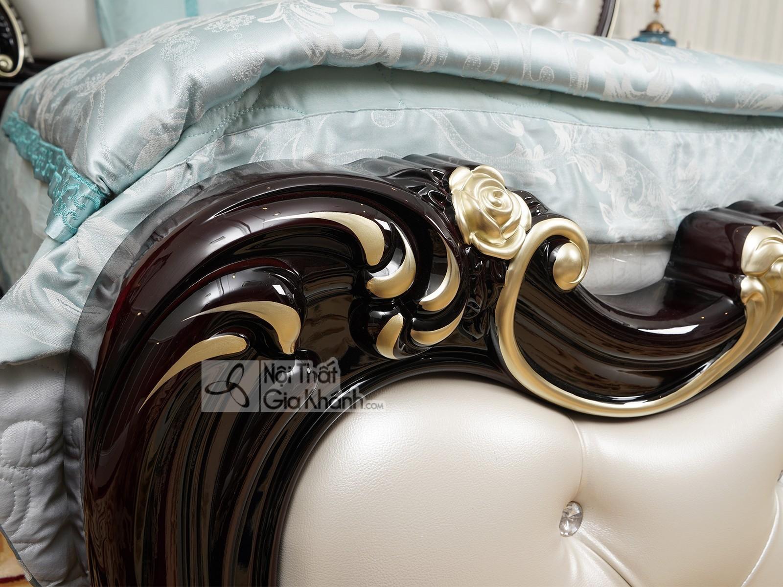 Giường ngủ tân cổ điển cao cấp màu rượu nho GI8802G-18