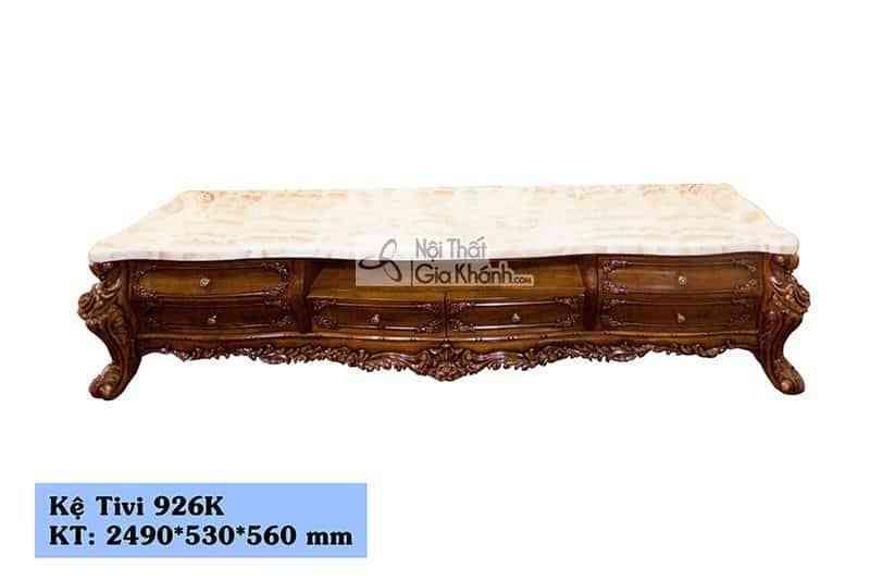Kệ tivi 2m5 phòng khách gỗ gõ đỏ tự nhiên mặt đá Hồng ngọc long 926K
