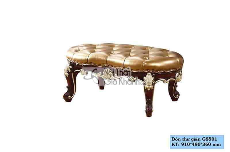 Don thu gian G8801 1 - Đôn sofa tân cổ điển màu nâu sang trọng DS8801G