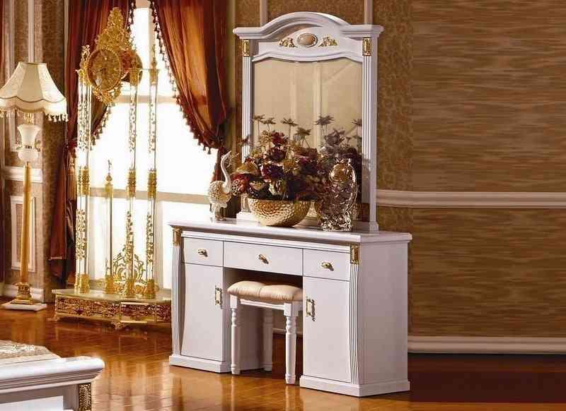 Bàn ghế trang điểm gỗ sồi màu trắng Cổ điển Châu Âu KH3026C