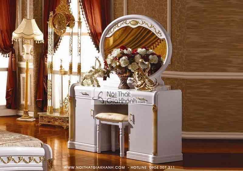ban ghe trang diem go soi mau trang tan co dien kh3007c - Bàn ghế trang điểm gỗ sồi màu trắng Tân cổ điển KH3007C