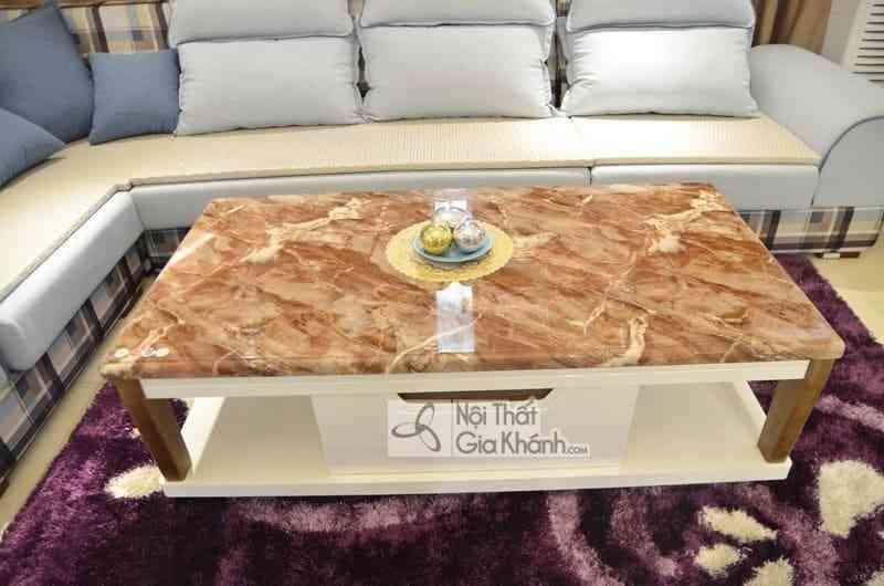 Bàn trà (Bàn Sofa) 1m4 mặt đá chữ nhật gỗ phòng khách hiện đại H827-2