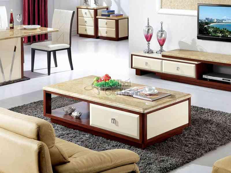 Bàn trà (Bàn Sofa) gỗ phòng khách mặt đá màu vàng 1m4 C8036062
