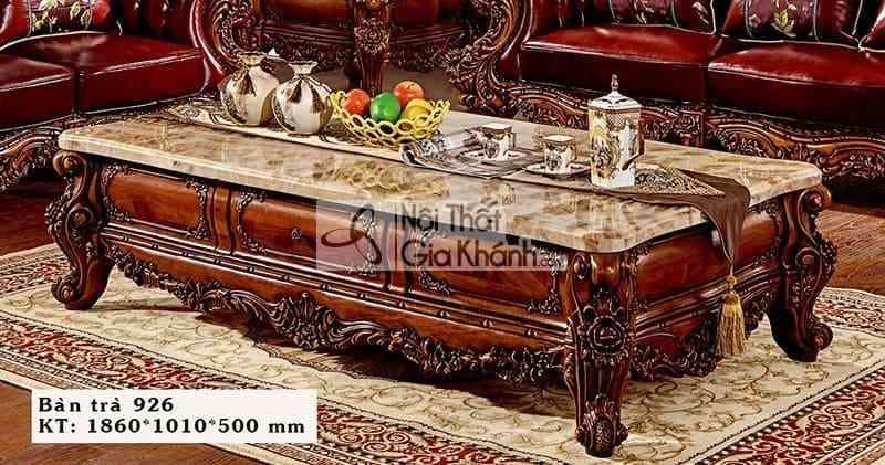 Bàn trà cổ điển gỗ gõ đỏ mặt đá Hồng ngọc long cao cấp 926BT
