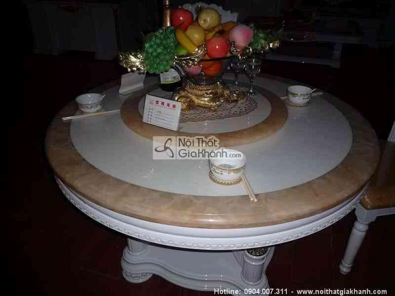 Bàn trà hình tròn gỗ sồi tự nhiên nhập khẩu Cổ điển châu Âu KH261ST