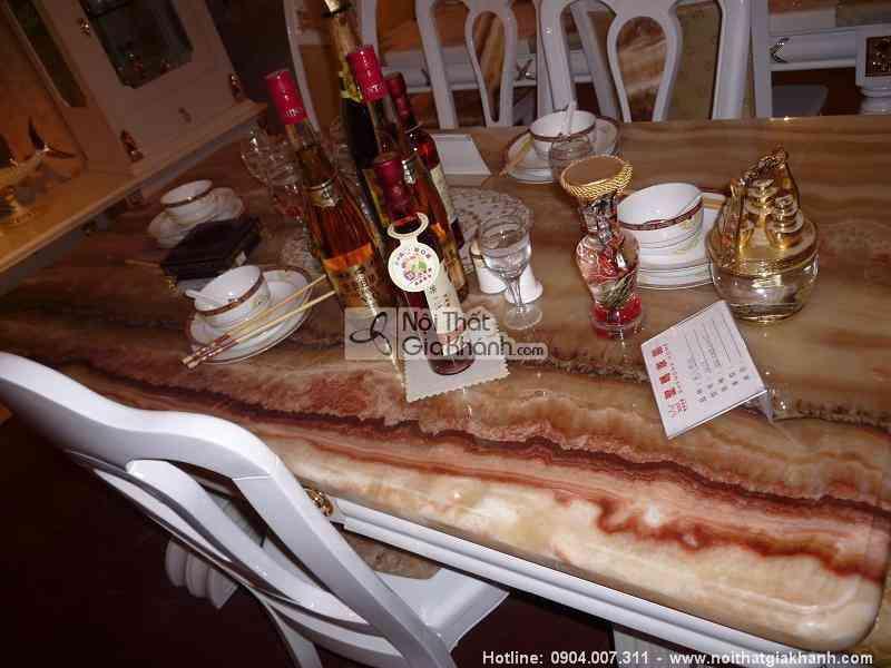 Bàn trà vuông nhỏ xinh tân cổ điển mặt đá rồng đỏ cao cấp KH303SRV