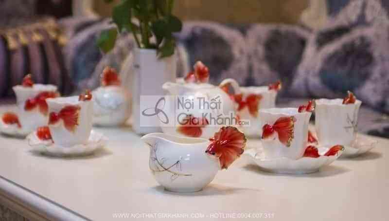 bo am chen pha tra nhap khau hinh ca vang 214 6 - Bộ ấm chén pha trà nhập khẩu hình cá vàng 214
