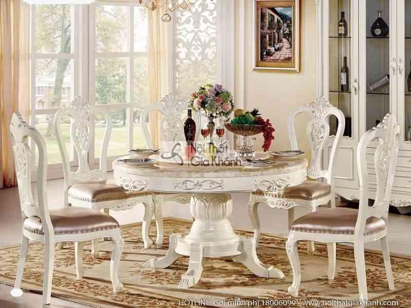 bo ban an tron 1m3 ghe an phong cach tan co dien h8802bbat1.3 - Bộ bàn ăn tròn (1m3) + ghế ăn phong cách tân cổ điển H8802BBAT1.3