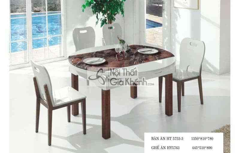 Bộ bàn ăn tròn đa năng chân gỗ nâu HT5753-3BG