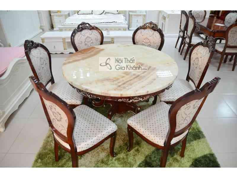 Bộ bàn ăn tròn mặt đá cổ điển 9861