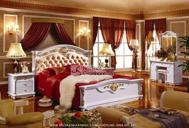 Bộ phòng ngủ gỗ tự nhiên phong cách Cổ điển Châu Âu KH3003BG