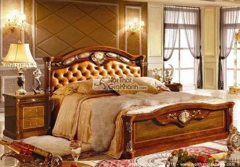 Bộ phòng ngủ gỗ tự nhiên phong cách cổ điển Châu Âu KH505BG