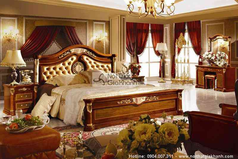 Bộ Phòng Ngủ Gỗ Tự Nhiên Tân Cổ Điển Châu Âu Kh511Bg