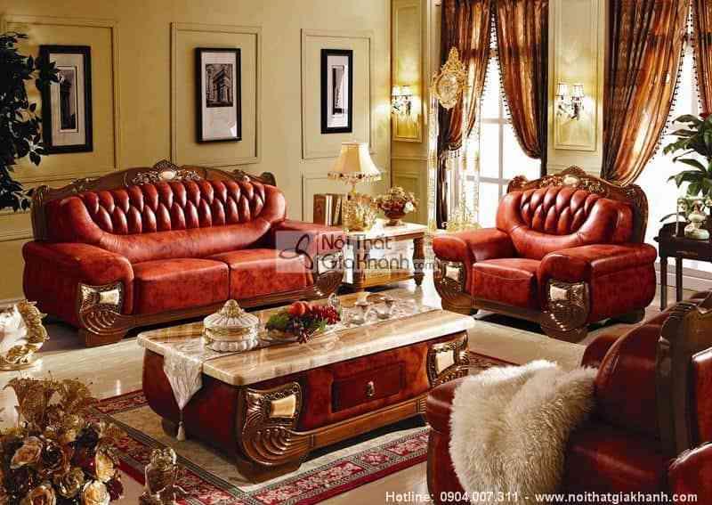 Bộ sofa hoàng gia phong cách tân cổ điển nâu KH303SF