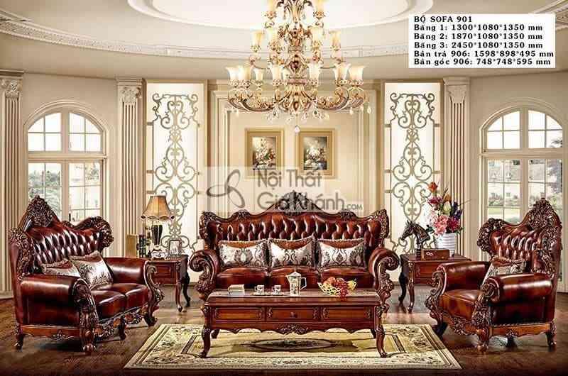 Bộ sofa phòng khách cao cấp màu nâu phong cách cổ điển hoàng gia 901SF