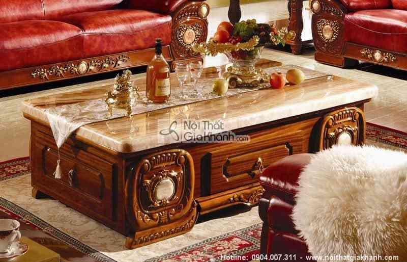 Bộ sofa tân cổ điển nâu cho phòng khách KH306C-SF