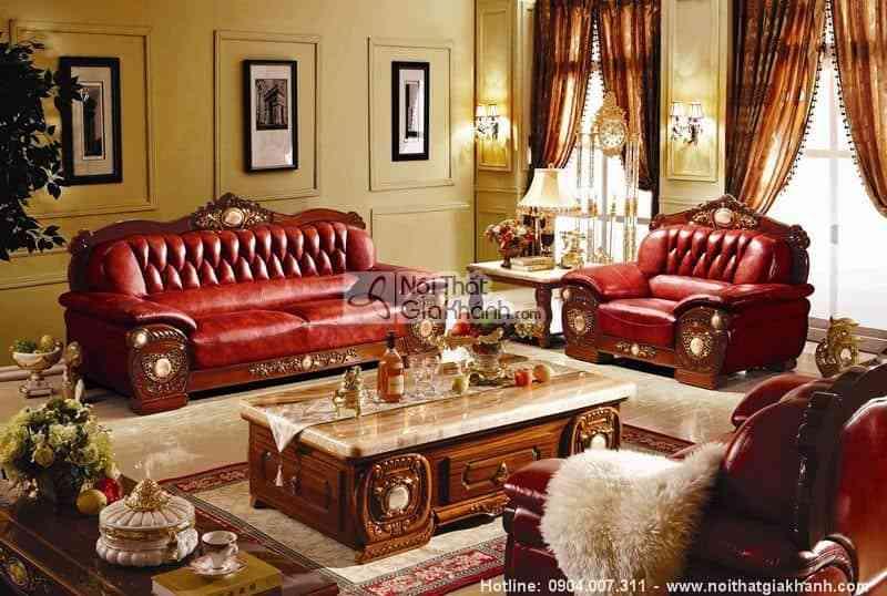 bo sofa tan co dien nau cho phong khach kh306c sf - Bộ sofa tân cổ điển nâu cho phòng khách KH306C-SF