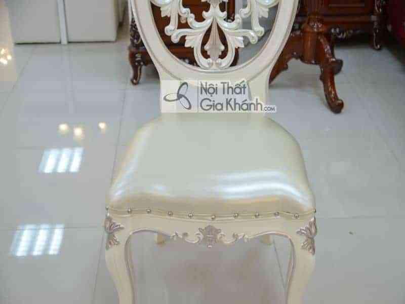 Ghế ăn bọc da không tay trắng tinh tế H8801Y-1