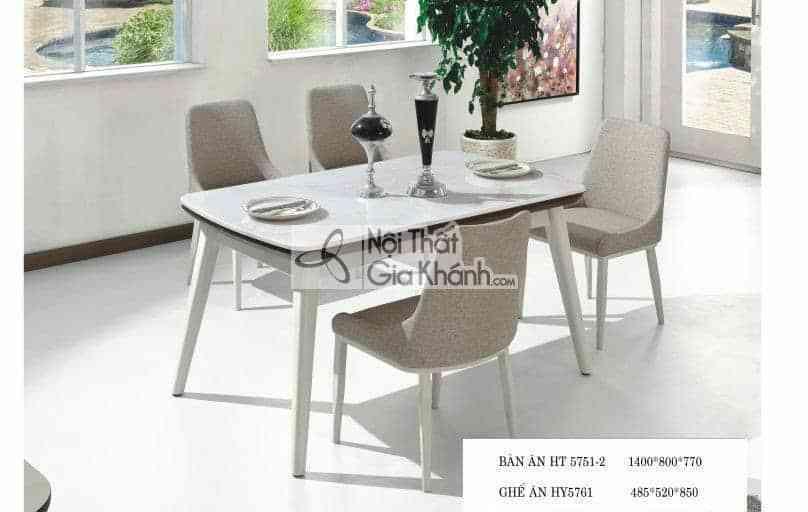 Bàn ăn mặt đá công nghiệp màu trắng HT5751-2