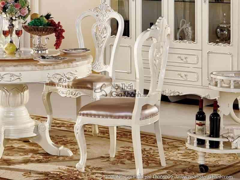 ghe an tan co dien khong tay h8802y 1 - Bộ bàn ăn tròn (1m3) + ghế ăn phong cách tân cổ điển H8802BBAT1.3