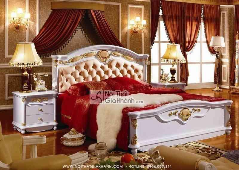 Giường Ngủ Cổ Điển Gỗ Sồi Tự Nhiên Có Đá Hồng Ngọc KH3003Al