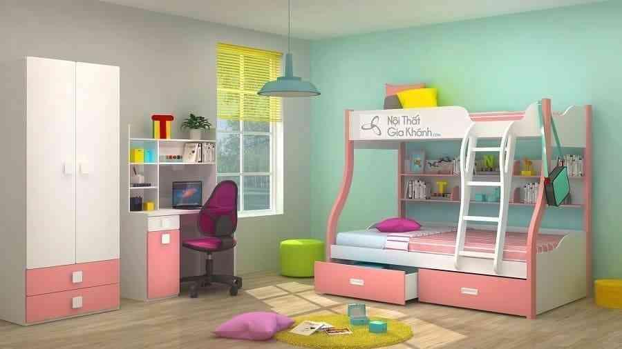 Giường Tomy 3 tầng trắng hồng có giá sách W825 - PK2