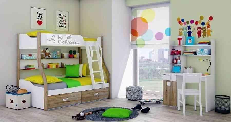 Giường Tomy 3 tầng vân gỗ có giá sách W825 - 05
