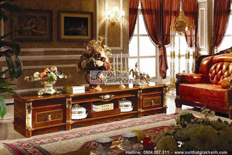 Kệ để tivi gỗ sồi tự nhiên 2m4 phòng khách cổ điển KT511-24