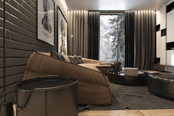 Mẫu thiết kế nhà sáng tạo và quyến rũ với gam màu trung tính - mau nha dep angled sofa design 600x401