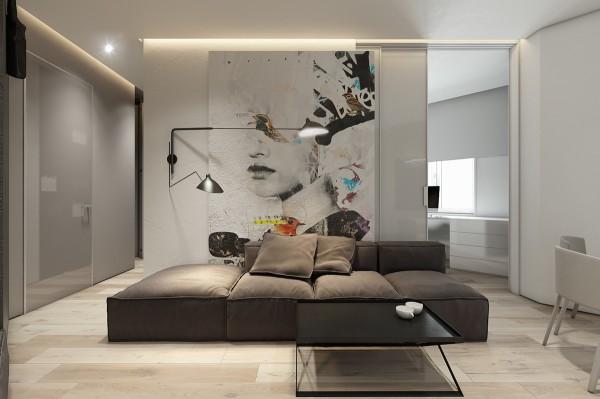 Mẫu thiết kế nhà sáng tạo và quyến rũ với gam màu trung tính - mau nha dep artistic living room 600x399