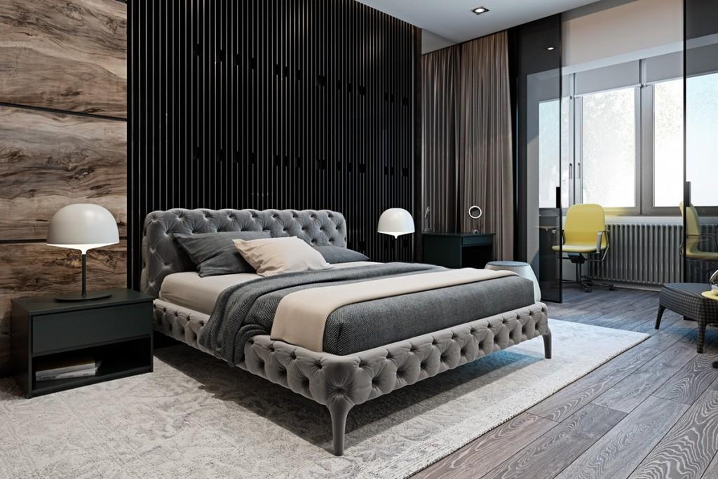 Thiết kế nhà gam màu tối và họa tiết bắt mắt - mau nha dep bedroom with interior textures 1024x683