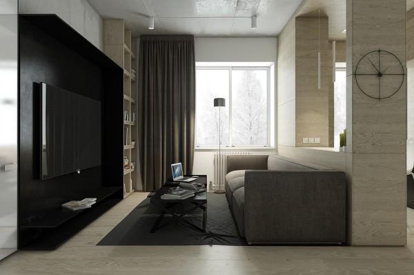 Mẫu thiết kế nhà sáng tạo và quyến rũ với gam màu trung tính - mau nha dep black accent wall 600x398