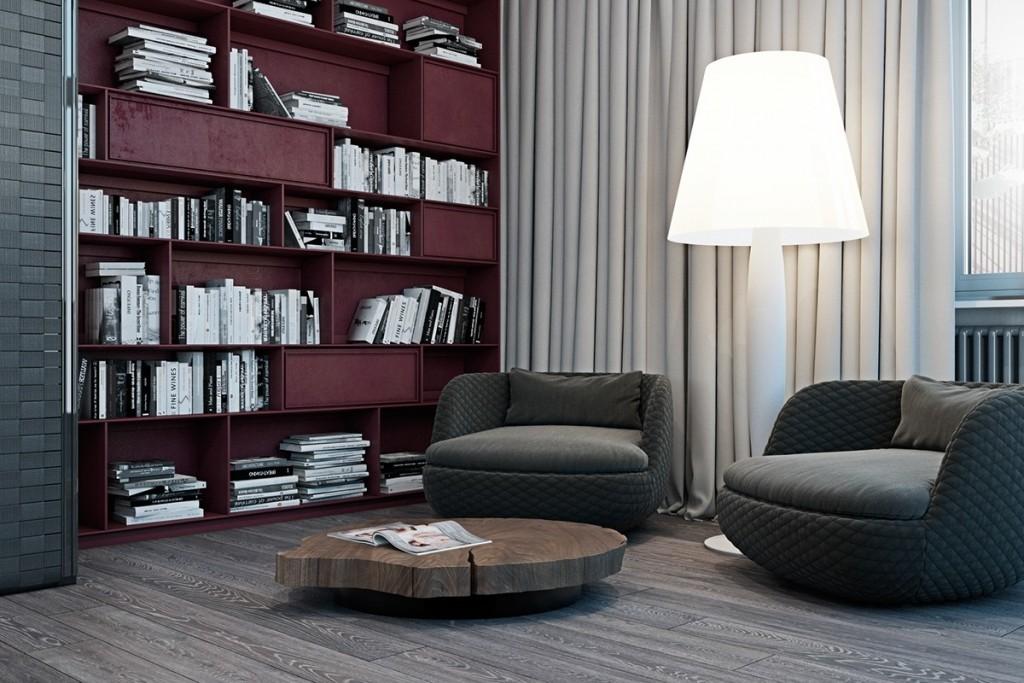 Thiết kế nhà gam màu tối và họa tiết bắt mắt - mau nha dep burgundy and gray color theme 1024x683