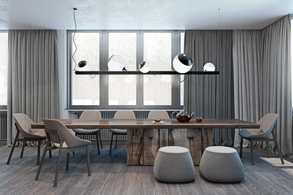 Thiết kế nhà gam màu tối và họa tiết bắt mắt - mau nha dep contemporary dining room in neutral colors 1024x683