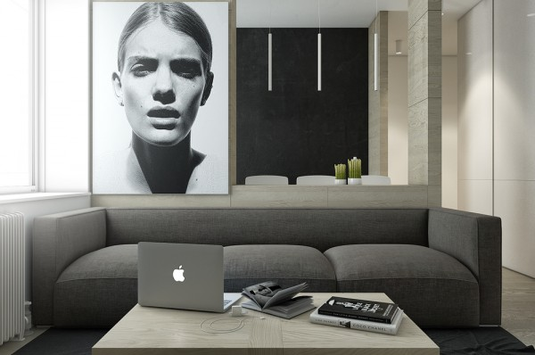 Mẫu thiết kế nhà sáng tạo và quyến rũ với gam màu trung tính - mau nha dep dark gray sofa 600x398