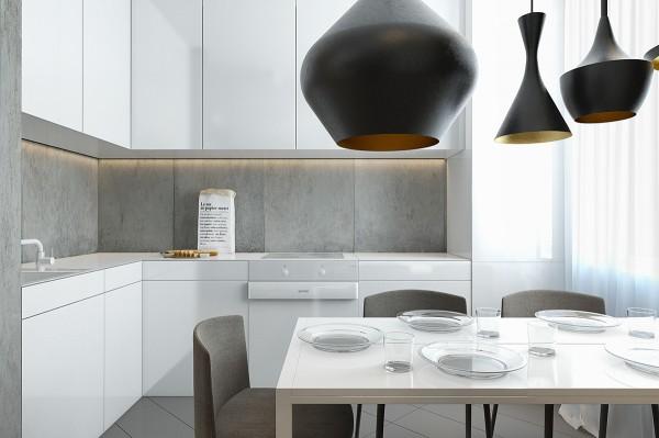 Mẫu thiết kế nhà sáng tạo và quyến rũ với gam màu trung tính - mau nha dep gray backsplash 600x399