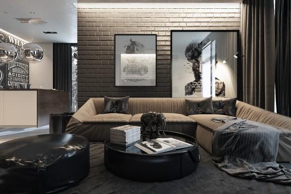 Mẫu thiết kế nhà sáng tạo và quyến rũ với gam màu trung tính - mau nha dep gray brick wall 600x401