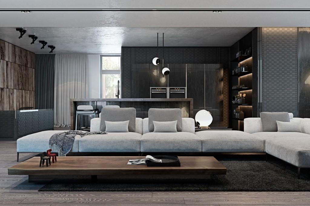 Thiết kế nhà gam màu tối và họa tiết bắt mắt - mau nha dep grayscale apartment with wood accents 1024x683