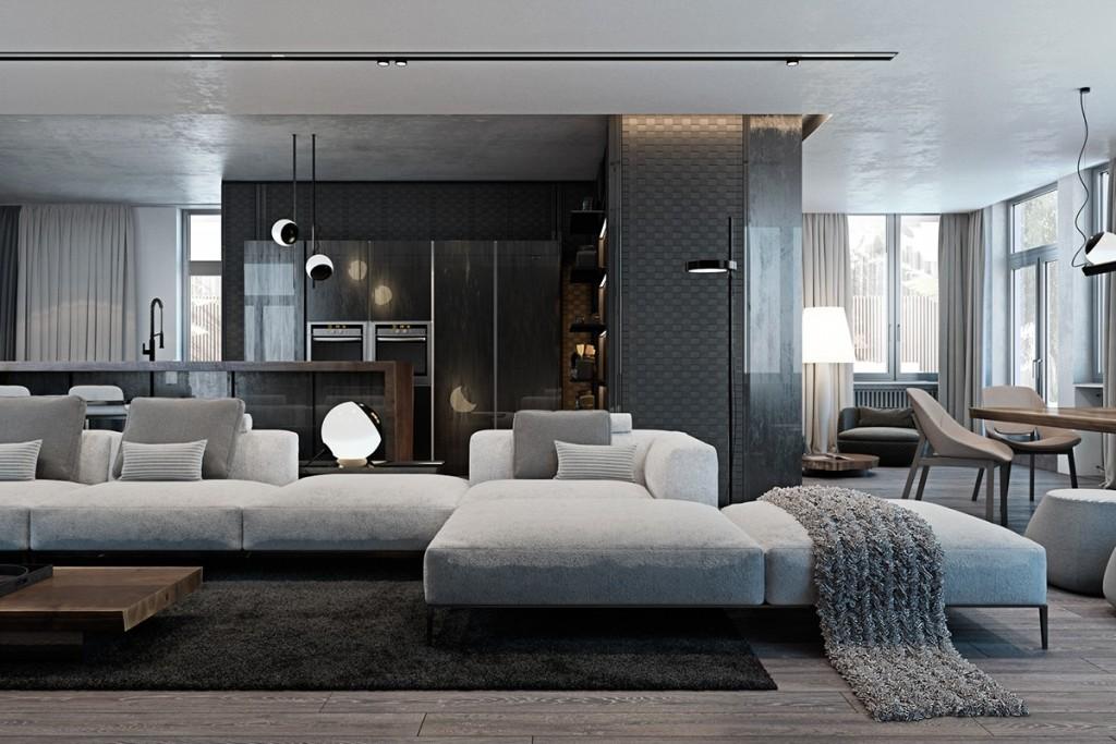 Thiết kế nhà gam màu tối và họa tiết bắt mắt - mau nha dep grayscale interior inspiration 1024x683