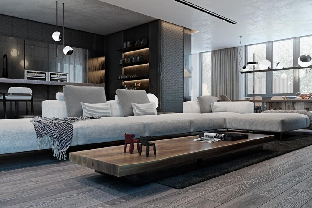Thiết kế nhà gam màu tối và họa tiết bắt mắt - mau nha dep interior with strong textures 1024x683