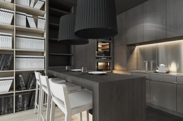 Mẫu thiết kế nhà sáng tạo và quyến rũ với gam màu trung tính - mau nha dep kitchen lighting 600x398