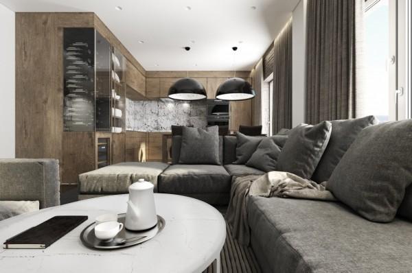 Mẫu thiết kế nhà sáng tạo và quyến rũ với gam màu trung tính - mau nha dep masculine interior 600x398