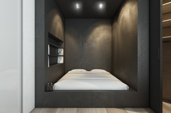 Mẫu thiết kế nhà sáng tạo và quyến rũ với gam màu trung tính - mau nha dep modern canopy bed 600x399