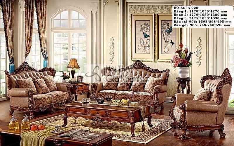 Sofa tân cổ điển da phối nỉ phong cách sang trọng 928SF
