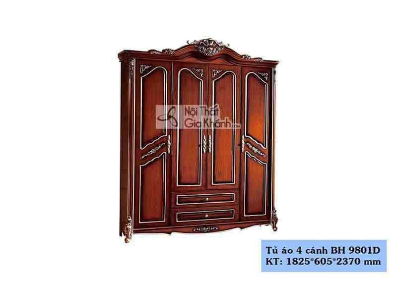 Tủ áo 4 cánh mở 3 buồng tân cổ điển gỗ công nghiệp BH9801D4