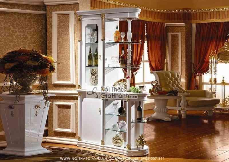 Tủ rượu trang trí 2 mặt phong cách cổ điển KH3003HM